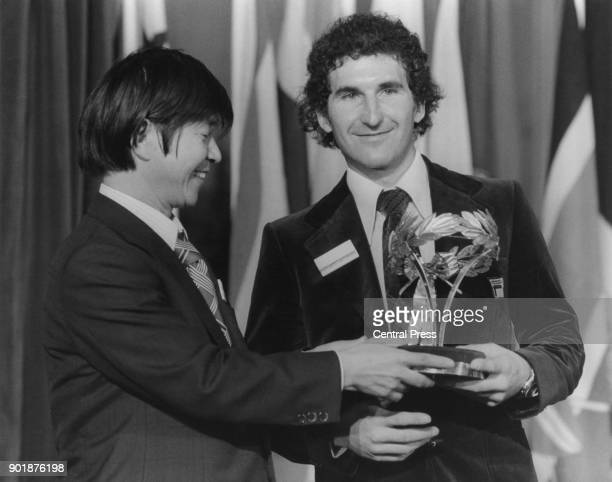 French mountaineer hang glider and extreme sportsman JeanMarc Boivin accepts the 1979 International Award for Valour in Sport at the Guildhall in...