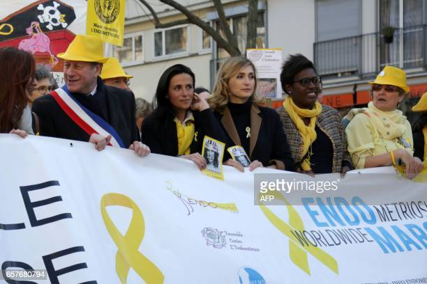 French MP and mayor of Paris' 15th disctrict Philippe Goujon gynaecologist Chrysoula Zacharopoulou French actress Julie Gayet and deputy mayor of...