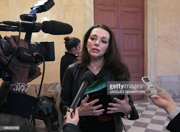 French MP for the BouchesduRhône region Valerie Boyer who authored Armenian Genocide denial bill speaks to the press at the French National Assembly...