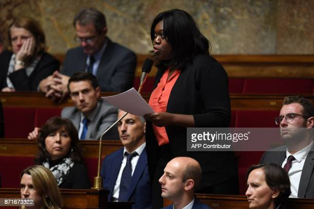 French MP Laetitia Avia of the La Republique En Marche party asks a question during a session of questions to the government at the National Assembly...