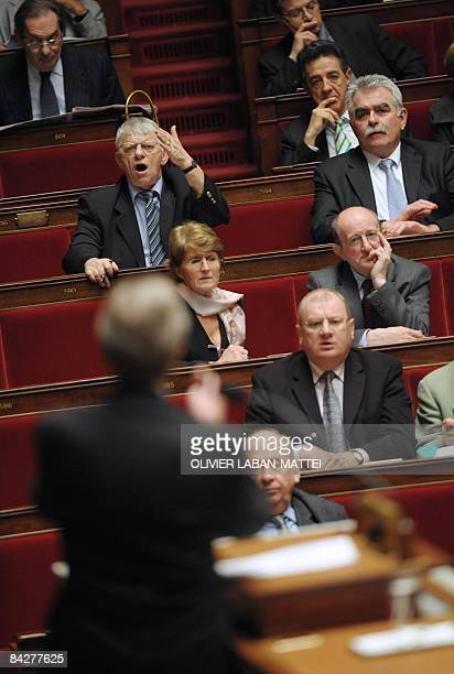 French MP Maxime Gremetz gestures as French foreign affairs minister Bernard Kouchner delivers a speech on the Middle East crisis at the French...