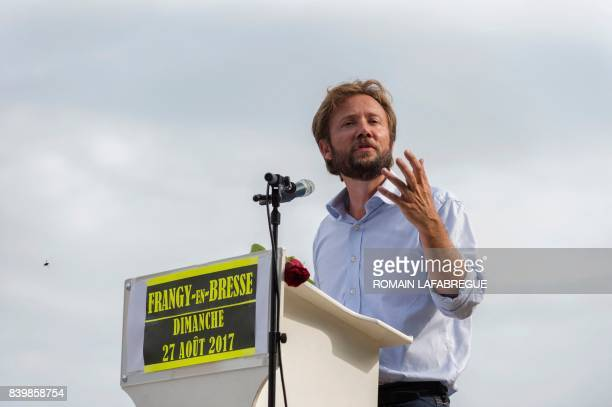 French MP of Les Landes and spokesman of the parlamentiary group Nouvelle Gauche Boris Vallaud delivers a speech during the 45th annual meeting of...