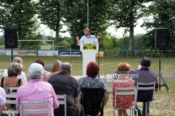 """French MP of Les Landes and spokesman of the parlamentiary group """"Nouvelle Gauche"""" Boris Vallaud delivers a speech during the 45th annual meeting of..."""