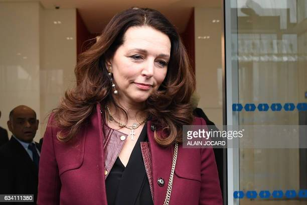 French MP of the rightwing Les Republicains party Valerie Boyer leaves after attending a meeting at the campaign headquarters of the LR candidate for...