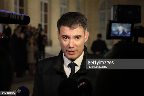 French MP Olivier Faure talks to the press after the French president's New Year wishes to the French Parliament's Bureaux Paris Council constituent...