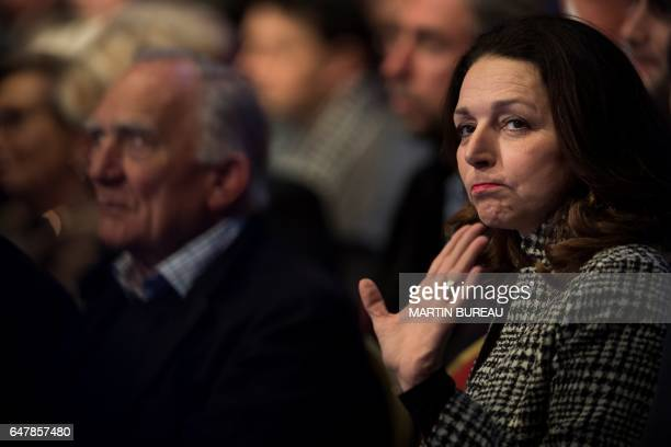 French MP Valerie Boyer gestures during a campaign meeting of French presidential election candidate for the rightwing Les Republicains party in...