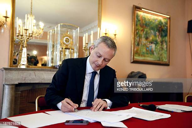 French MPs for the Union for a Popular Movement rightwing opposition party and former minister Bruno Le Maire is pictured before giving a press...