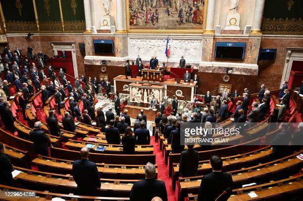 French MPs stand as they hold a minute of silence to pay tribute to the French soldier who died in a helicopter crash in Egypt's Sinai, on November...