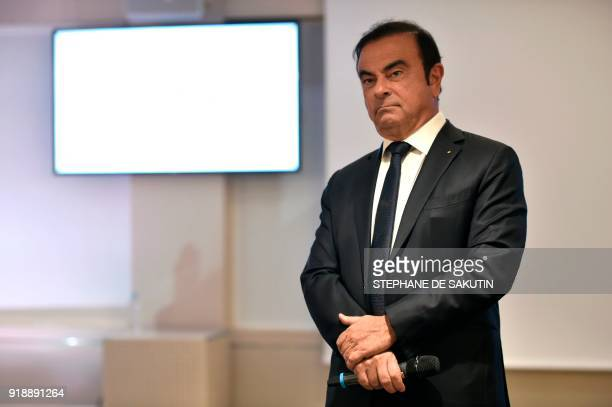 French multinational automobile manufacturer Renault chairman and CEO Carlos Ghosn stands during a press conference presenting the group's 2017 full...