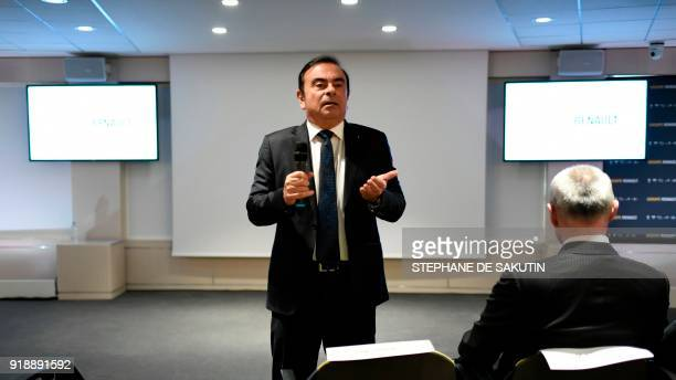 French multinational automobile manufacturer Renault chairman and CEO Carlos Ghosn speaks during a press conference presenting the group's 2017 full...