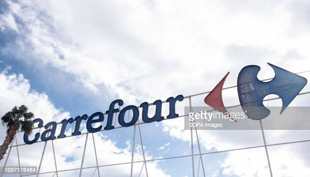 French multinational supermarket chain Carrefour logo seen in Spain