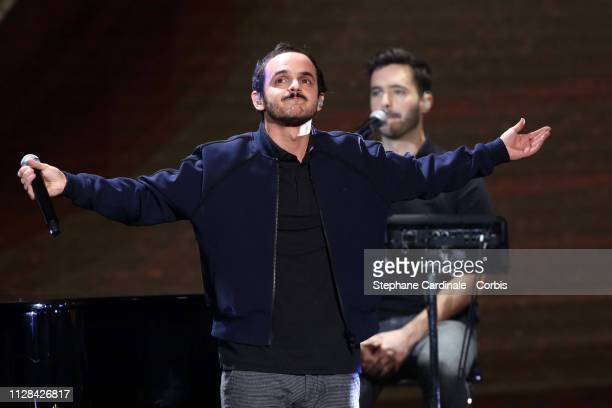 French music band Boulevard des Airs performs on stage during the 34th 'Les Victoires De La Musique' Show at La Seine Musicale on February 08 2019 in...