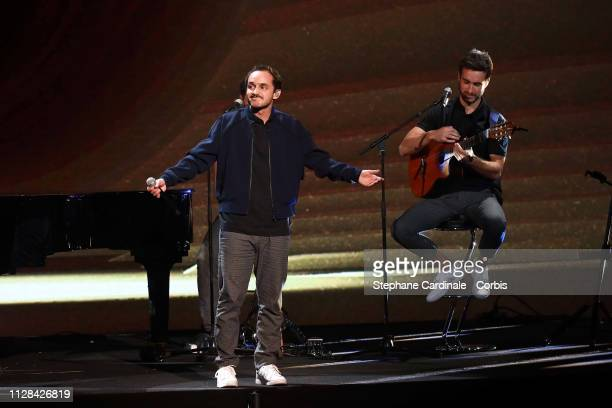French music band Boulevard des Airs performs on stage during the 34th 'Les Victoires De La Musique' Show at La Seine Musicale on February 08, 2019...