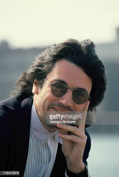 French musician and composer Jean Michel Jarre poses in London England on April 12 1988