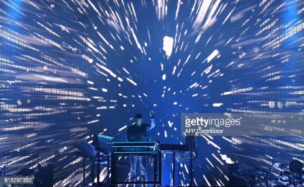 French musician Jean-Michel Jarre performs July 15, 2017 in Carhaix-Plouguer, western France during the third day of the 26th edition of the...