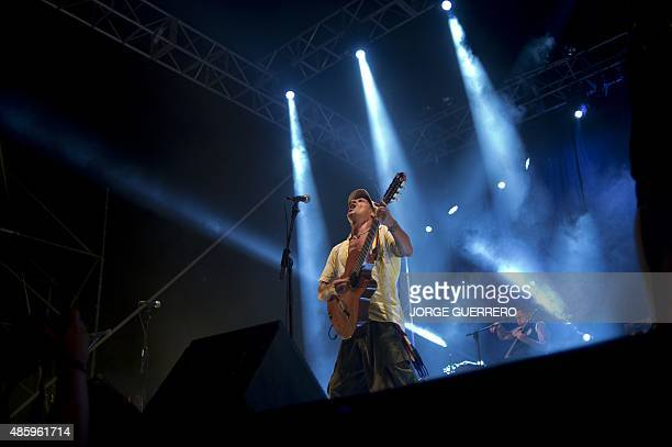 French musician Manu Chao performs on stage during a concert in Frigiliana on August 30 2015 AFP PHOTO / JORGE GUERRERO