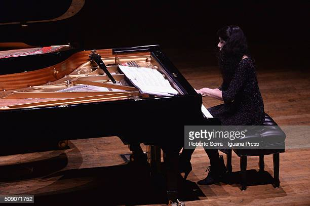 French musician Marielle Labeque performs in duo with her sister Katia for Musica Insieme at Auditorium Manzoni on February 8 2016 in Bologna Italy