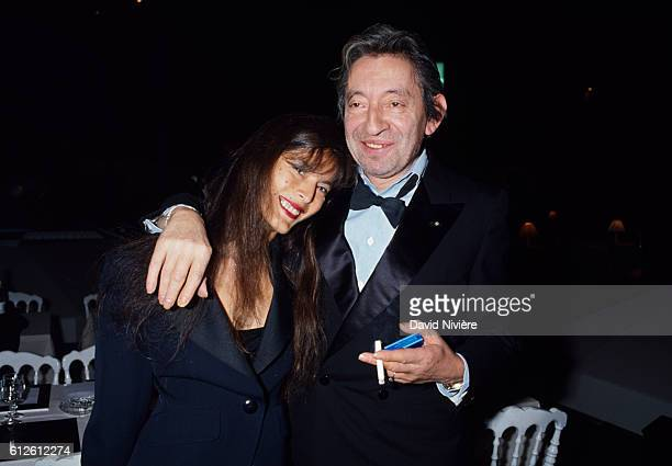 French musician Serge Gainsbourg and Bambou at the Victoires de la Musique during which Gainsbourg would be awarded a special prize celebrating his...
