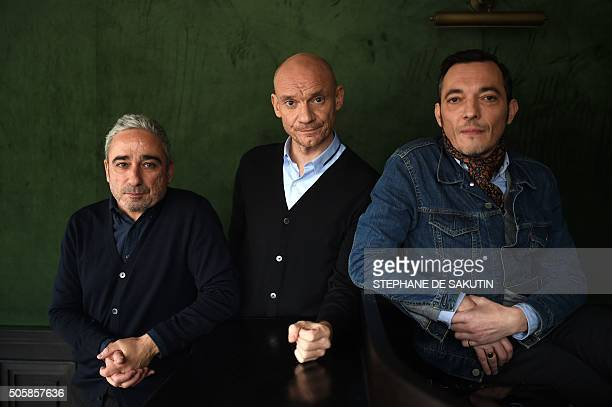 French musicians Arnaud Samuel Gaetan Roussel and Robin Feix of French rock group Louise Attaque pose on January 19 2016 in Paris / AFP / STEPHANE DE...