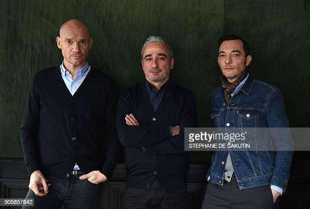 French musicians Gaetan Roussel Arnaud Samuel and Robin Feix of French rock group Louise Attaque pose on January 19 2016 in Paris / AFP / STEPHANE DE...