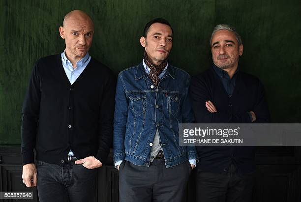 French musicians Gaetan Roussel Robin Feix and Arnaud Samuel of French rock group Louise Attaque pose on January 19 2016 in Paris / AFP / STEPHANE DE...