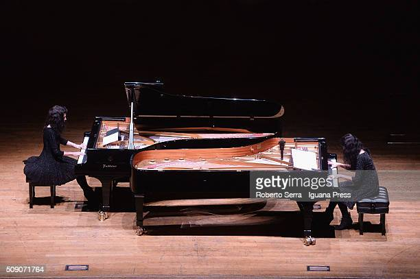 French musicians Katia and Marielle Labeque performs for Musica Insieme at Auditorium Manzoni on February 8 2016 in Bologna Italy