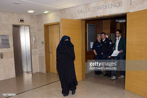 French Muslim woman LouiseMarie Suisse accused of having bitten a policewoman during an idendity check in Marseille leaves with two friends on...