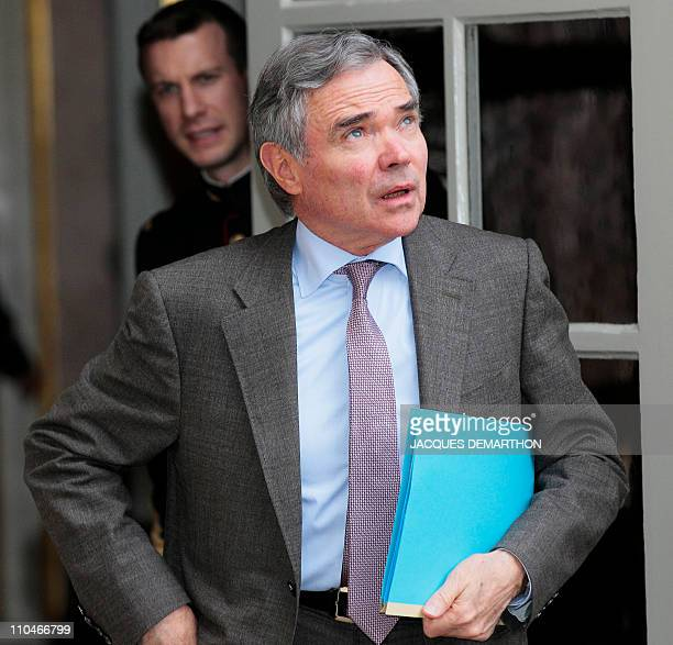 French national assembly president Bernard Accoyer leaves the Hotel Matignon France's Premier official residence after a meeting focused on Libya...