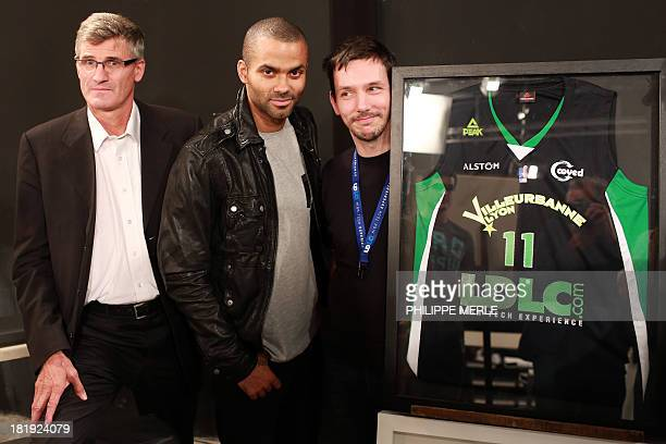 French national basketball player and ASVEL shareholder Tony Parker introduces the new jersey of ASVEL basketball club along with ASVEL president...