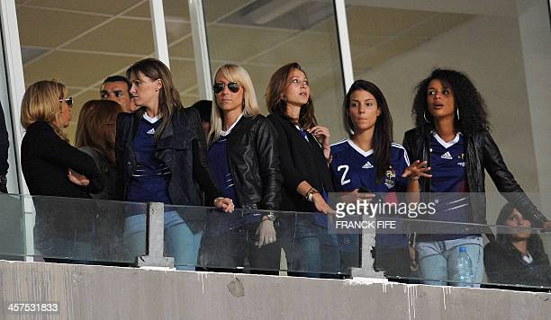 French national footbal team players' wives gather in the stands before the friendly football match Tunisia vs France at the 07 novembre stadium in...
