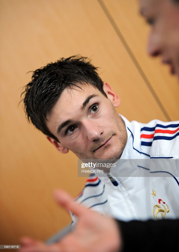 French national football team goalkeeper Hugo Lloris gives a press conference in Tignes, French Alps on May 21, 2010. The French team started in Tignes its preparation for the upcoming FIFA 2010 World Cup in South Africa. France will play Uruguay in Capetown in its group A opener match next June 11.