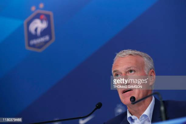 French national football team head coach Didier Deschamps gives a press conference to announce France's squad for the upcoming UEFA Euro 2020 Group H...