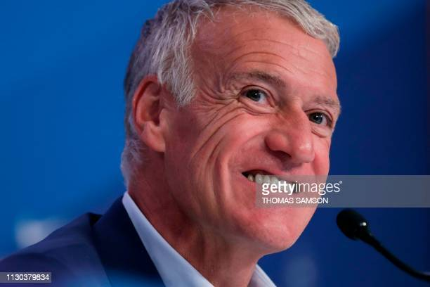 TOPSHOT French national football team head coach Didier Deschamps gives a press conference to announce France's squad for the upcoming UEFA Euro 2020...