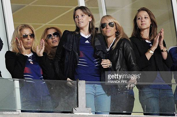 French national football team players' wives gather in the stands before the friendly football match Tunisia vs France at the 07 novembre stadium in...
