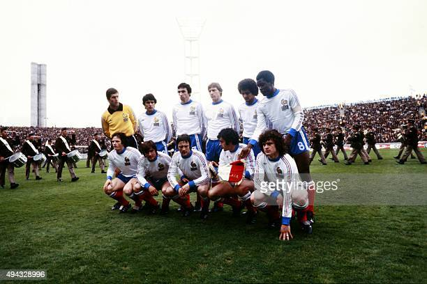 French national football team pose before the 1978 World Cup football match between France and Italy on June 2 in Mar del Plata Background Maxime...