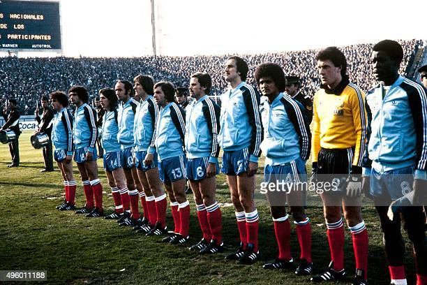 French national football team pose before the 1978 World Cup football match between France and Hungary on June 10 in Mar del Plata From left Olivier...