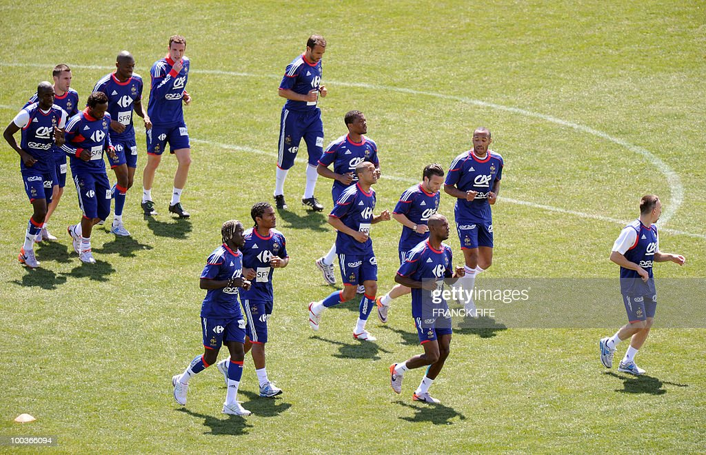 French national football team runs durin