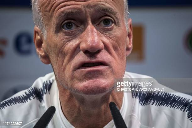 French national football team's coach Didier Deschamps speaks during a press conference in Clairefontaine-en-Yvelines, southwest of Paris on October...