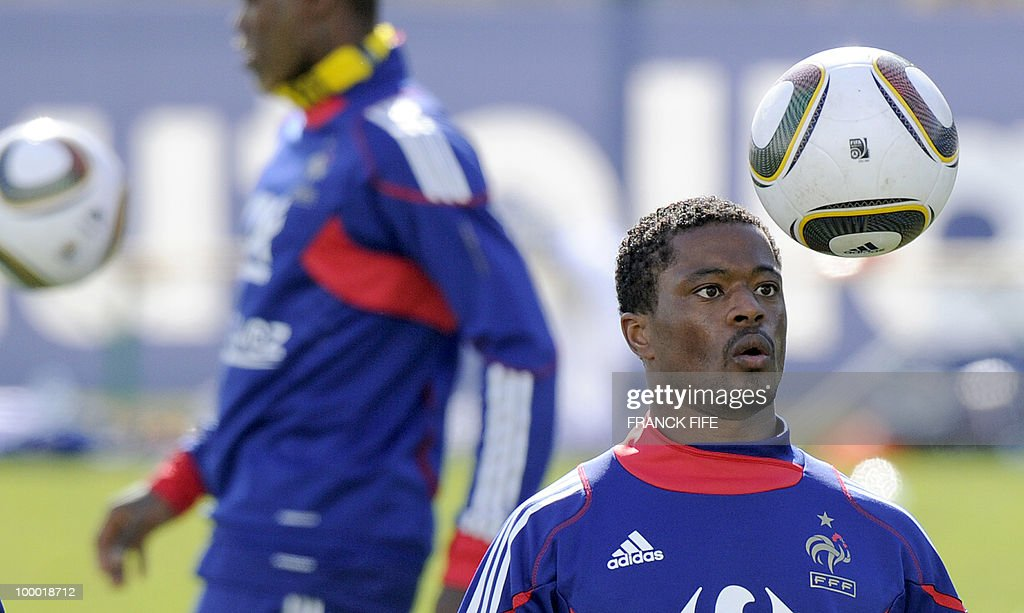 French national football team's defender Patric Evra eyes the ball during a training session, on May 20, 2010 in Tignes, French Alps, as part of their altitude training in preparation for the 2010 World cup in South Africa. France will play Uruguay in Capetown in its group A opener match on June 11.
