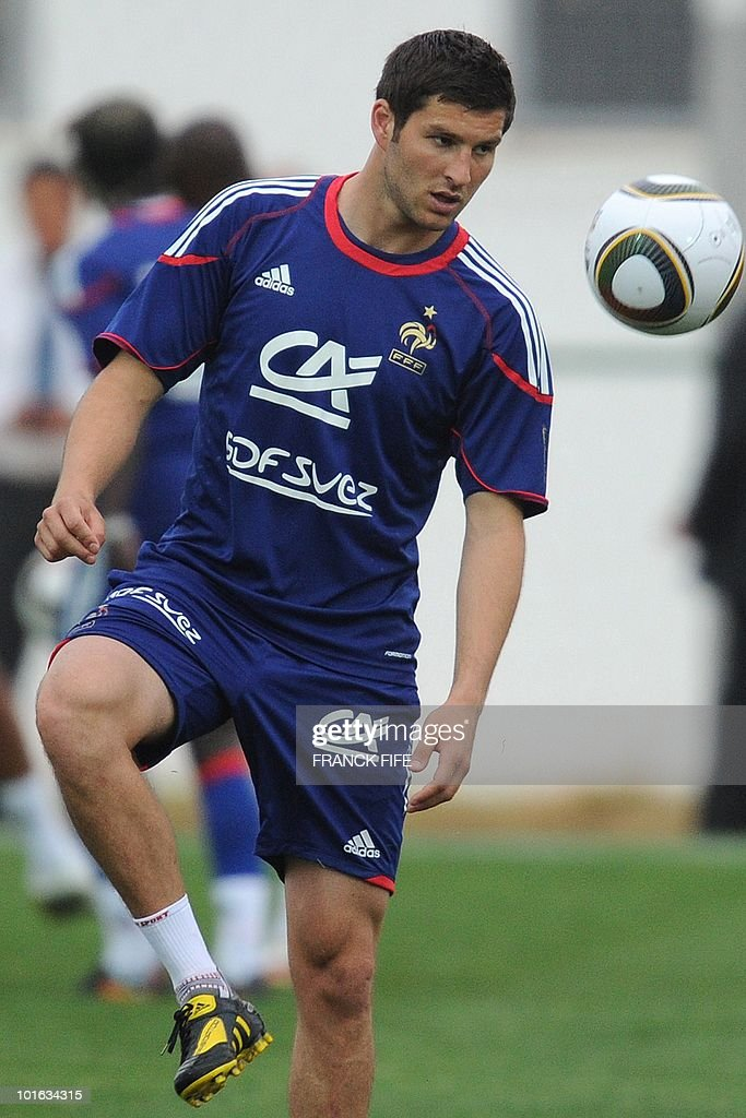 French national football team's forward Andre-Pierre Gignac eyes the ball during a training session, on May 28, 2010, in Sousse, as part of the preparation for the upcoming World Cup 2010. France will play against Uruguay in Capetown in its group A opener match on June 11.