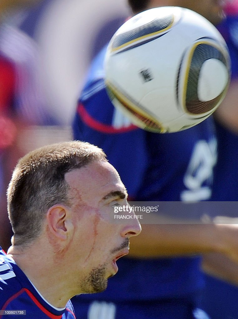French national football team's forward Franck Ribery controls the ball during a training session, on May 24, 2010, near Tignes in the French Alps, as part of the preparation for the upcoming World Cup 2010. France will play against Uruguay in Capetown in its group A opener match on June 11.