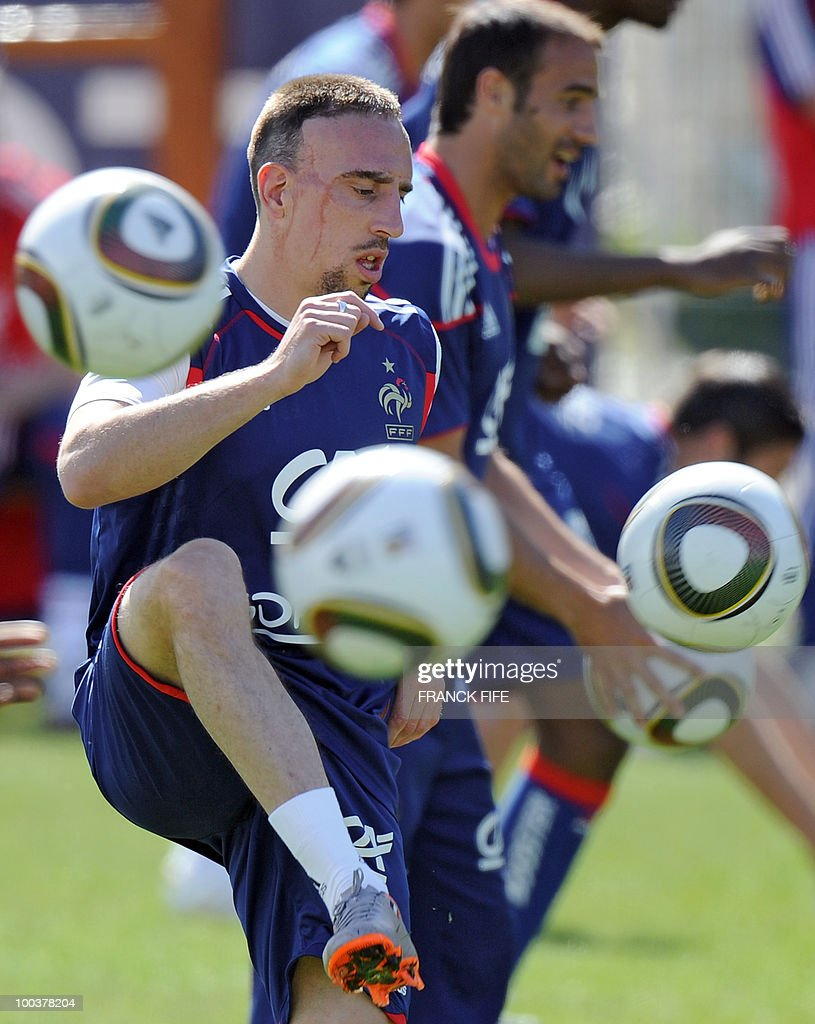 French national football team's forward Franck Ribery juggles with a ball during a training session, on May 24, 2010, near Tignes in the French Alps, as part of the preparation for the upcoming World Cup 2010. France will play against Uruguay in Capetown in its group A opener match on June 11.