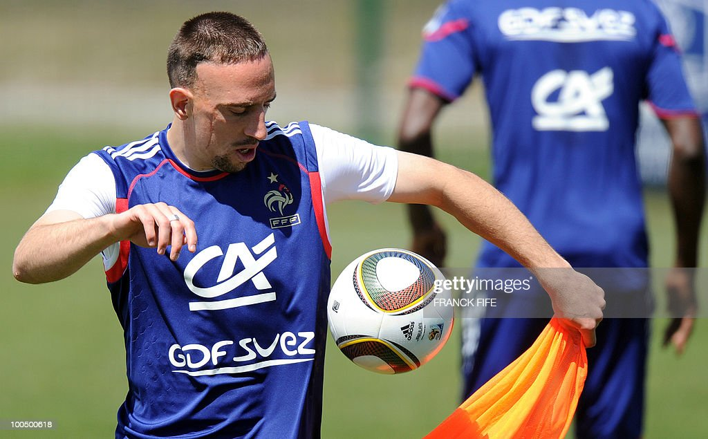 French national football team's forward Franck Ribery juggles with the ball during a training session, on May 25, 2010, near Tignes in the French Alps, as part of the preparation for the upcoming World Cup 2010. France will play against Uruguay in Capetown in its group A opener match on June 11.
