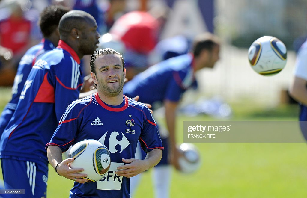 French national football team's forward Mathieu Valbuena attends a training session, on May 24, 2010, near Tignes in the French Alps, as part of the preparation for the upcoming World Cup 2010. France will play against Uruguay in Capetown in its group A opener match on June 11.