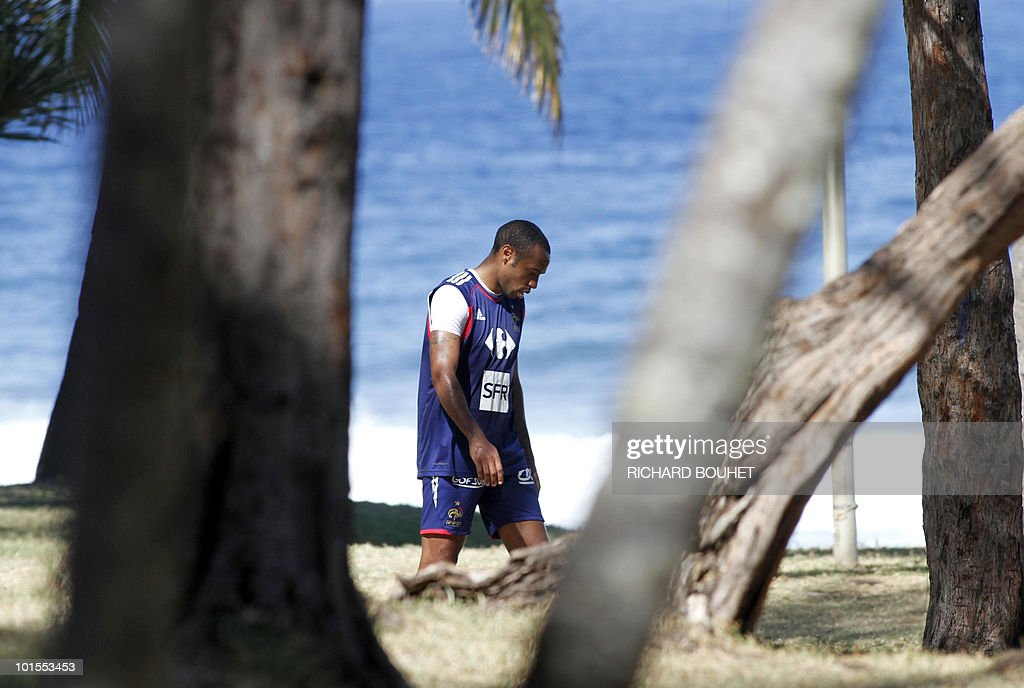 French national football team's forward Thierry Henry warms up during a training session on June 2, 2010 in Petite Ile, a locality of the south of the French Indian Ocean island of La Reunion. The French team will play China, on June 4, the last of its three preparation matches, in Saint-Denis de la Reunion, ahead of the Fifa World Cup 2010 hosted by South Africa.