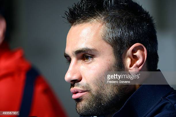 French national football team's midfielder Loic Perrin is seen during a press conference at the french national football team centre on May 23 2014...