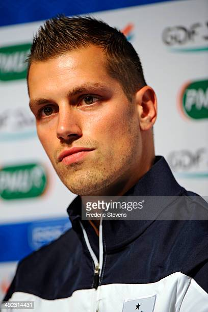 French national football team's midfielder Morgan Schneiderlin is seen during a press conference at the french national football team centre on May...