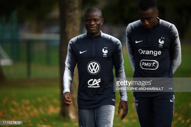 French national football team's midfielder N'Golo Kante arrives for a training session in Clairefontaine-en-Yvelines, southwest of Paris on October...