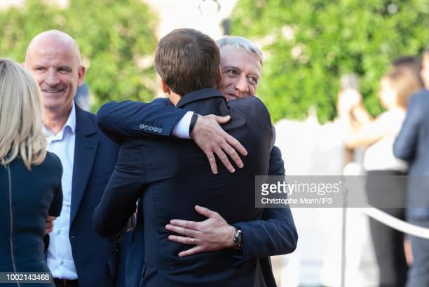French national football team's players and their coach Didier Deschamps arrive prior to a reception at the Elysee Presidential Palace after they won...