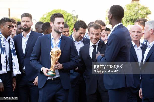 French national football team's players arrive prior to a reception at the Elysee Presidential Palace with Emmanuel Macron after they won the Russia...